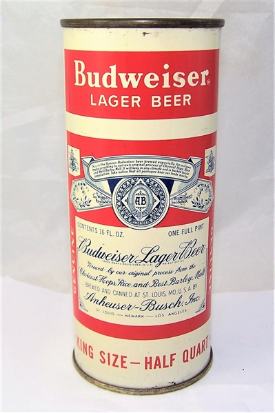 Budweiser Split Label 16 Ounce Flat Top Beer Can, Display Empty